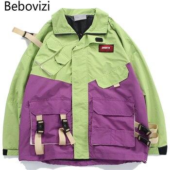 Bebovizi Green Purple Patchwork Ribbons Multi Pockets Windbreaker Jackets Streetwear Outwear Hip Hop Zip Up Track Jacket Coats