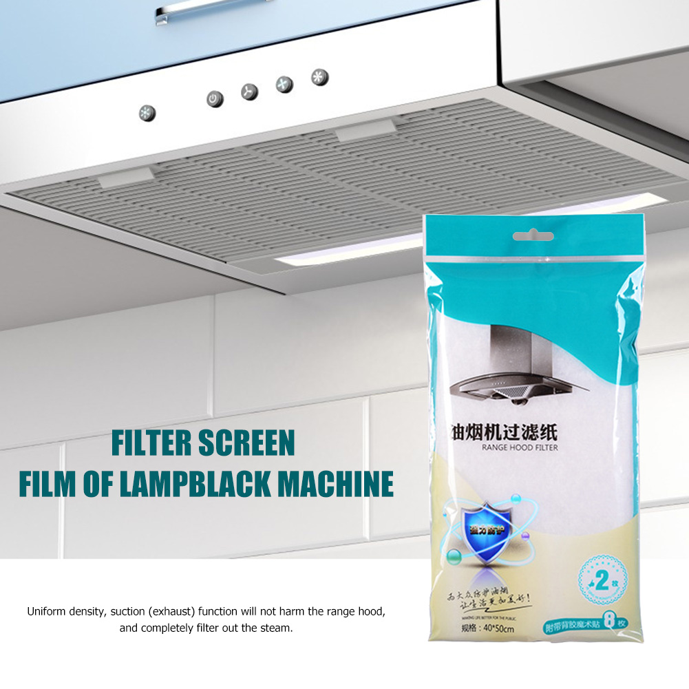 2Pcs Home Range Hood Anti-Oil Filter Stickers Fume Paper Kitchen Supplies Clean Cooking Nonwoven Range Hood Grease Filter Paper