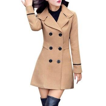 Abrigo De doble botonadura De Lana elegante para mujer, chaqueta cálida De...