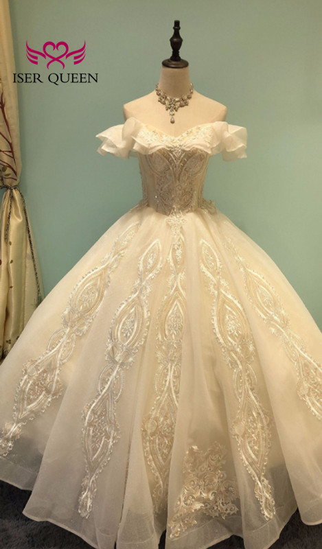 Cap Sleeves Mid East Dubai Quality Wedding Dress 2020 Ball Gown Beautiful Lace Appliques Off Shoulder Wedding Gown WX0051