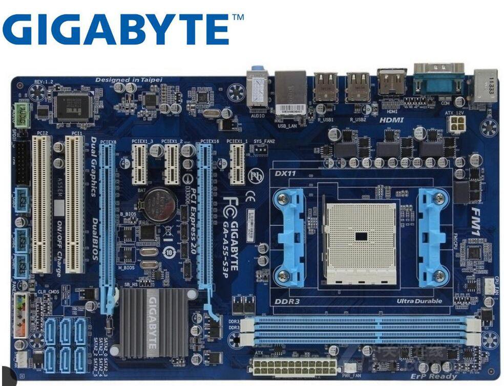 Gigabyte GA-A55-S3P Original Motherboard For AMD  DDR3 Socket FM1 32GB USB2.0 A75 USED Desktop Motherborad
