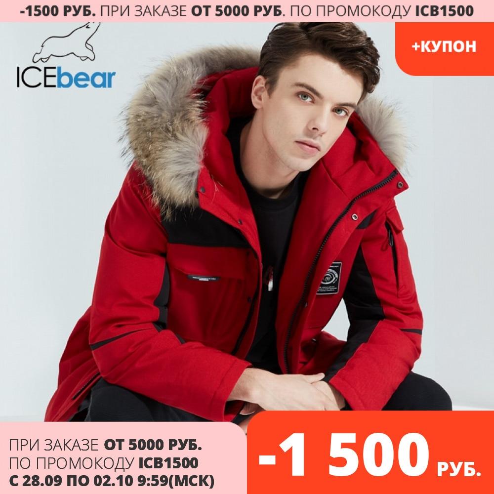 ICEbear 2020 nueva chaqueta de invierno para hombre, abrigo de alta calidad con cuello de piel, ropa masculina de marca MWY20609D