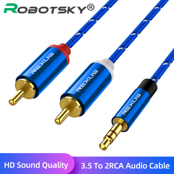 RCA Cable Hifi Stereo 3.5 Male to 2 RCA 3.5 Mm Audio Cable Aux RCA Jack 3.5 Splitter for Home Theater Audio Amplifiers Rca Cable 4pcs lot diy rca plug hifi goldplated audio cable rca male audio connector gold adapter for cable