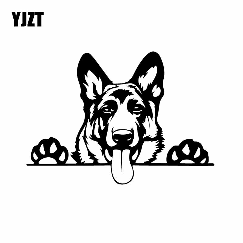 YJZT 16.8X11.9CM Modern Art Funny Animal Vinyl Car Sticker German Shepherd Dog Decal Black/Silver C24-1575
