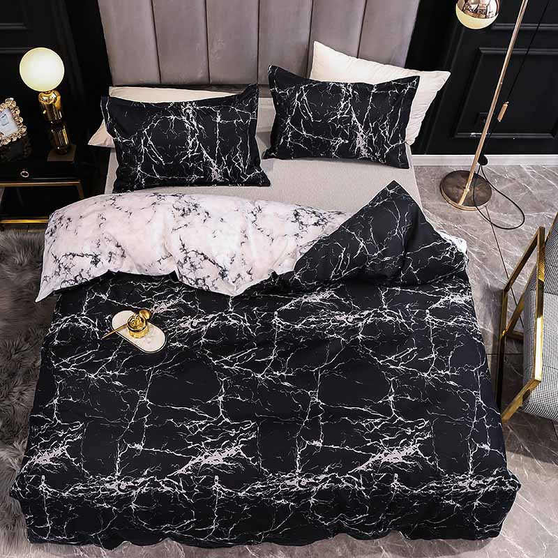Marble Bedding Set For Bedroom Soft Bedspreads For Double Bed Home Comefortable Duvet Cover Quality Quilt Cover And Pillowcase