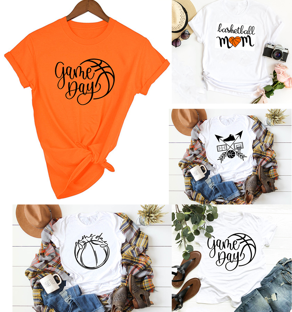 Basketball Mom Game Day Sports Mom Shirt Women Tshirt Team Clothes Casual White Orange Shirts Tops Japanese Graphic Mother Tees