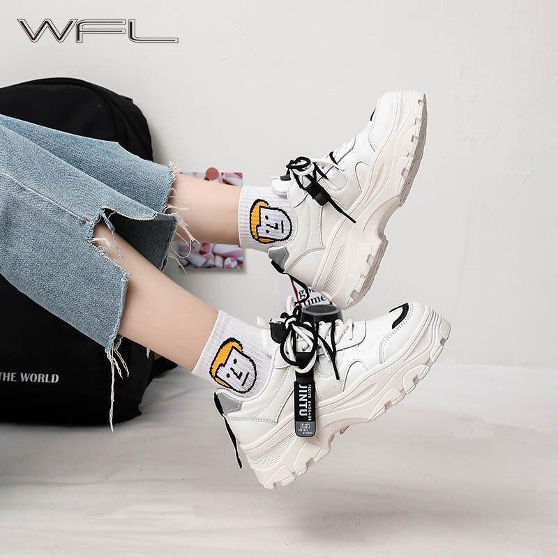 WFL las mujeres Zapatillas de deporte de moda zapatos de lona zapatos papá calzado Zapatillas de plataforma de encaje Casual salvaje zapatos deportes de primavera Zapatillas Mujer Sandalias de moda para mujer, chanclas a la moda romanas, Sandalias planas, zapatos para mujer, chanclas informales sólidas, Dropshipping para mujer