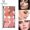 8 цветов MISS ROSE Румяна Палитра минеральный пигмент для лица Румяна Пудра Профессиональный макияж румяна Контурные тени + кисть