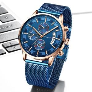 Image 3 - 2019 Mens Stylish Watches CRRJU Brand Blue Military Waterproof Sports Watch  Mens Casual Mesh Strap Quartz Clock reloj hombre