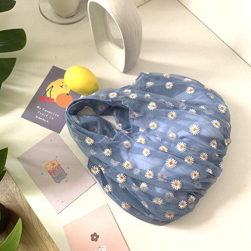 Cute Mesh Shoulder Bags Women's New Casual Fresh Flower Embroidery Tote Handbag Bohemia Travel Shopping Bag Mochila Bolsa