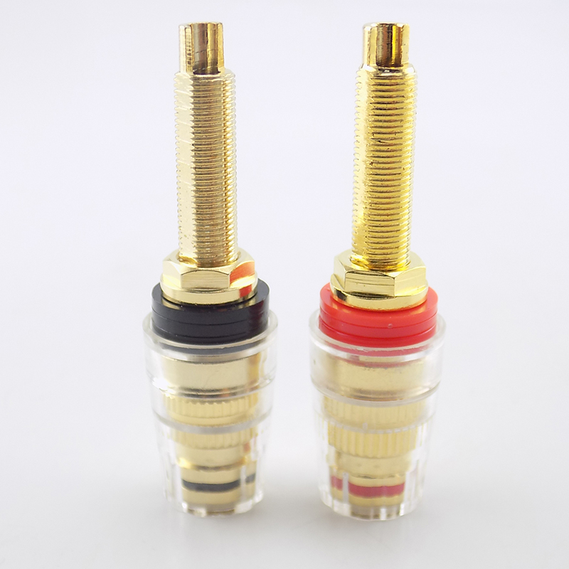 2pcs Brass Long Binding Post Connector Audio Speaker Amplifier Audio Adapter For 4mm Banana Plug Terminal Connectors