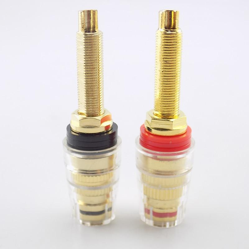 2pcs Brass Long Binding Post Connector Audio Speaker Amplifier Audio Adapter For 4mm Banana Plug Terminal Connectors