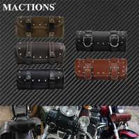 Alforja colgante para motocicleta bolsa de almacenamiento de herramientas delanteras de cuero PU, equipaje Universal de 5 tipos para BMW, Honda y Harley