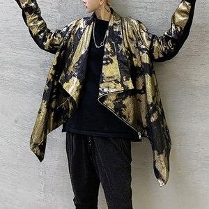 Image 4 - XITAO тренд бронзового цвета Блеск для губ куртка Для женщин Нерегулярные сценический Костюм Уличная плюс Размеры пальто Для женщин личности свободные топы ZLL4599