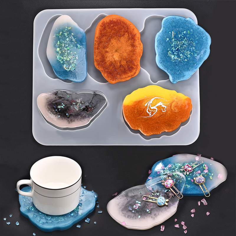 Silicone Coaster Molds Resin Jewelry UV Epoxy Pressed Flower Irregular Cloud Shape Molds For Jewelry Making Tools DIY Craft
