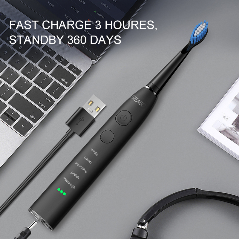 H7965403218d345dc903949da2c4e912fk - SEAGO Sonic Electric Toothbrush Upgraded Adult Waterproof USB Rechargeable 360 Days Long Standby Time With5 Brush Head Best Gift