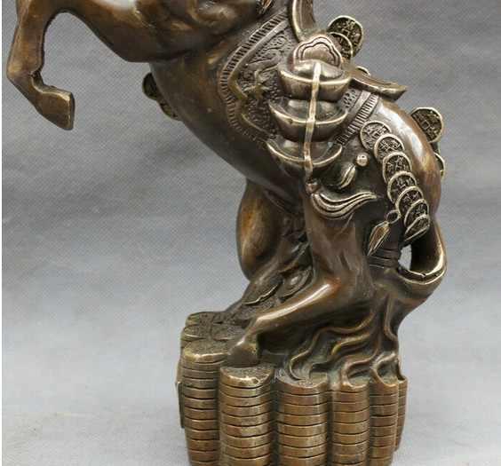 """YM 322 10 """"Dân Gian Trung Quốc Đồng Đồng Năm Cung Hoàng Đạo Cải Lên Chân Tượng Ngựa Trên Đồng Xu"""