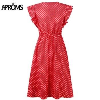 Aproms Boho Polka Dot Print Dress Women Casual Sleeveless V Neck Red Sundress Midi Dress female Beach A-line Dress Vestidos 2020 4