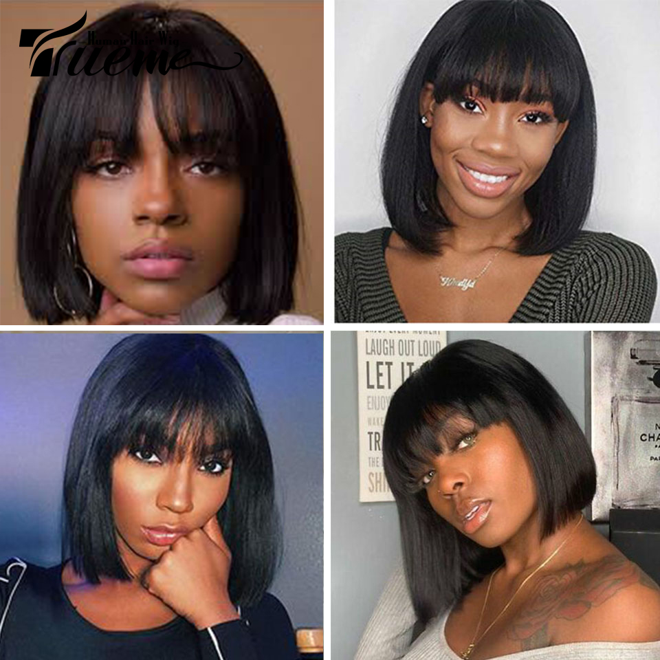 Trueme Pixie Cut Wig For Black Women 613 Ombre Red Brown Blonde Remy Brazilian Straight Short Bob Human Hair Wigs With Bangs