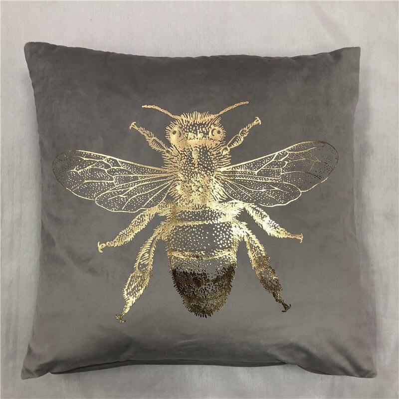 Лидер продаж насекомых Фольга печатной площади бархат подушечка с Пчелой чехол-портмоне с золотым тиснением наволочка подушки