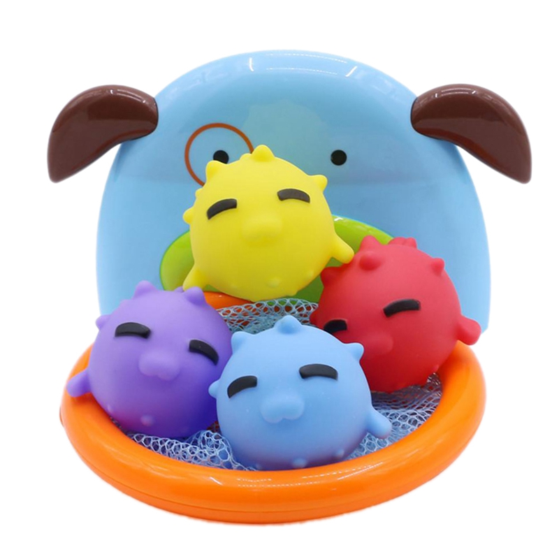 Children Bath Dabbling Toy Basketball Hoop Stand Sports Basketball For Baby Showering - B Fish