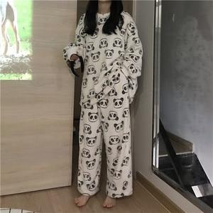 Image 3 - 2020 mignon panda pyjama polaire pyjama femmes automne et hiver pyjama avec pantalon flanelle maison porter deux pièces costume