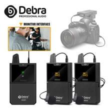Debra dv01/02 uhf sem fio lavalier mic com função do monitor e entrevista lapela mic para smartphone dslr câmera webcast