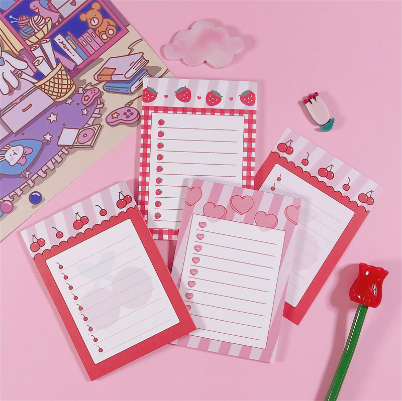 30Sheets/Lot Kawaii Korean INS Lovey Girl Heart Cherry Memo Pad N Times Sticky Notes Portable Notepad School Office Supply
