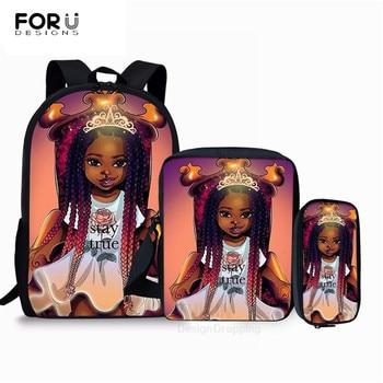 FORUDESIGNS, bonitas mochilas de colegio americanas de Arte Negro para niñas, mochilas escolares de dibujos animados para niños, 3 unids/set, bolsas de libros, bolsa de regalo para niños personalizada
