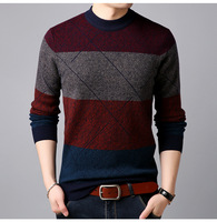 E 100 pure wool sweater men's winter new thickened round neck wool sweater Korean warm sweater sweater men