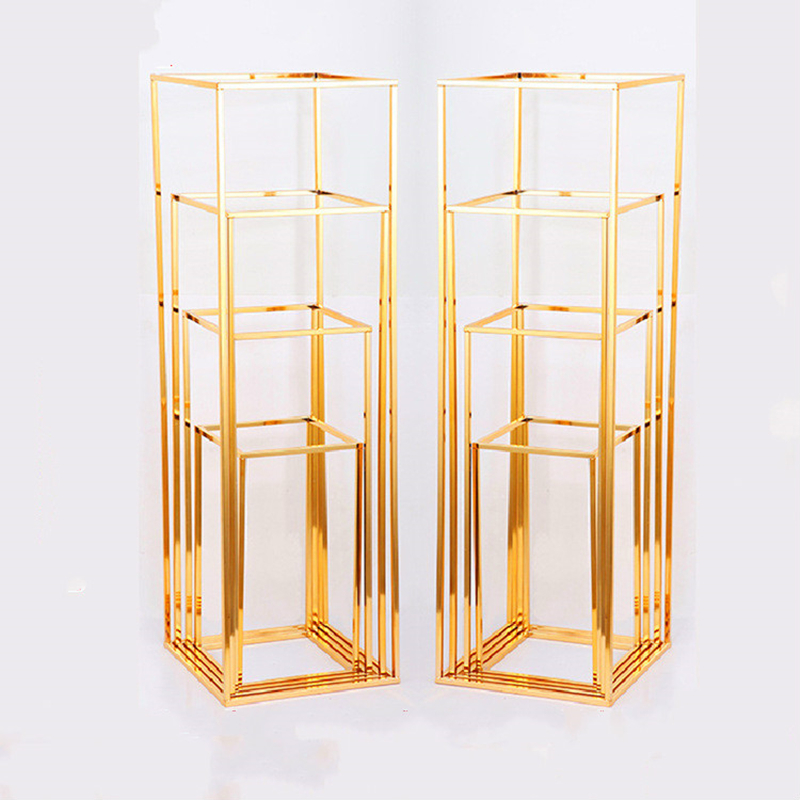 4pcs set Electroplated gold Wrought iron rectangular frame wedding party supplies road lead artificial flowers backdrop stand