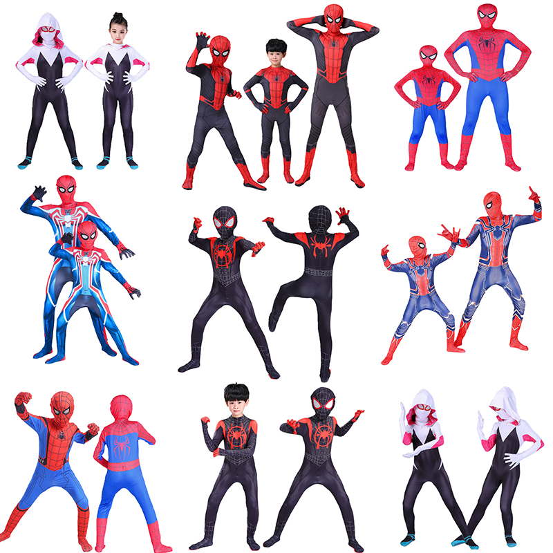 Hot Kids Costume Black Miles Morales Adult Cosplay Costumes Gwen Zentai Spide Bodysuit Suit Jumpsuits Unisex