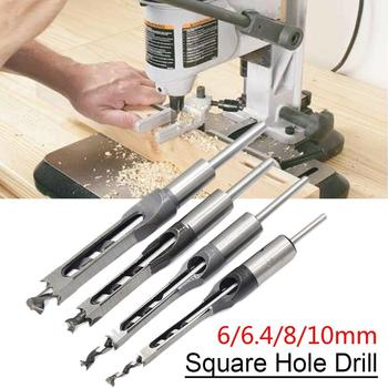 6/6.4/8/10/12.7mm HSS Square Hole Drill Bit Hole Drill Guide Positioner Fits Mortising Chisels with 3/4 collars Woodworking Tool image