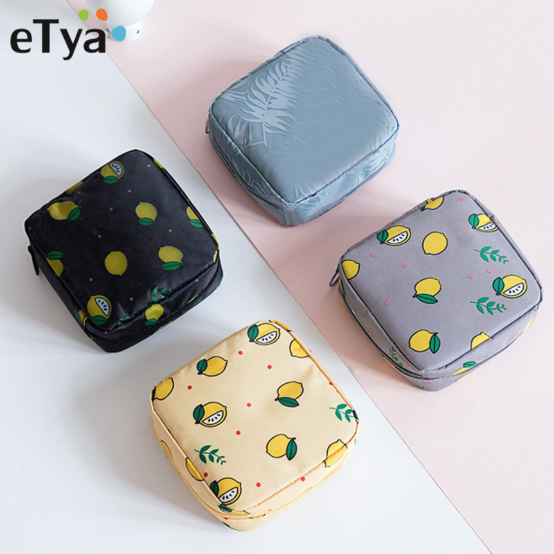 ETya Mini Solid Floral Cosmetic Bag Cosmetics Lipstick Bags Toiletry Travel Organizer Make Up Storage Bag Case Beauty Makeup Bag