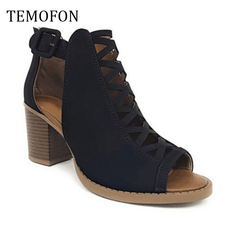 TEMOFON 2020 women square heel Sandals peep toe hollow out chunky gladiator sandals with strap black spring summer shoes HVT791 4