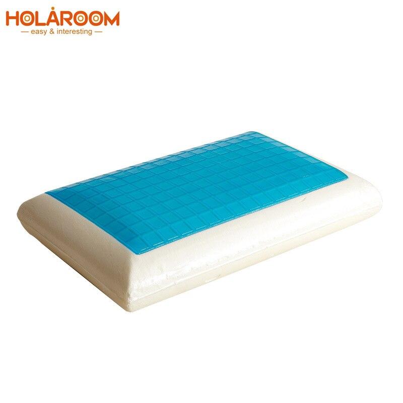 Travesseiro de memória espuma cama branca gel travesseiro azul refrigerando ortopédico pescoço almofada para dormir viagem fadiga alívio saúde coxim