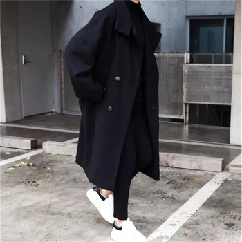 UYUK2019 Winter New Long Lapel Fabric L Casual Trend Temperament Youth Men's  Coat Men Homme Masculino  Cotton Single Breasted