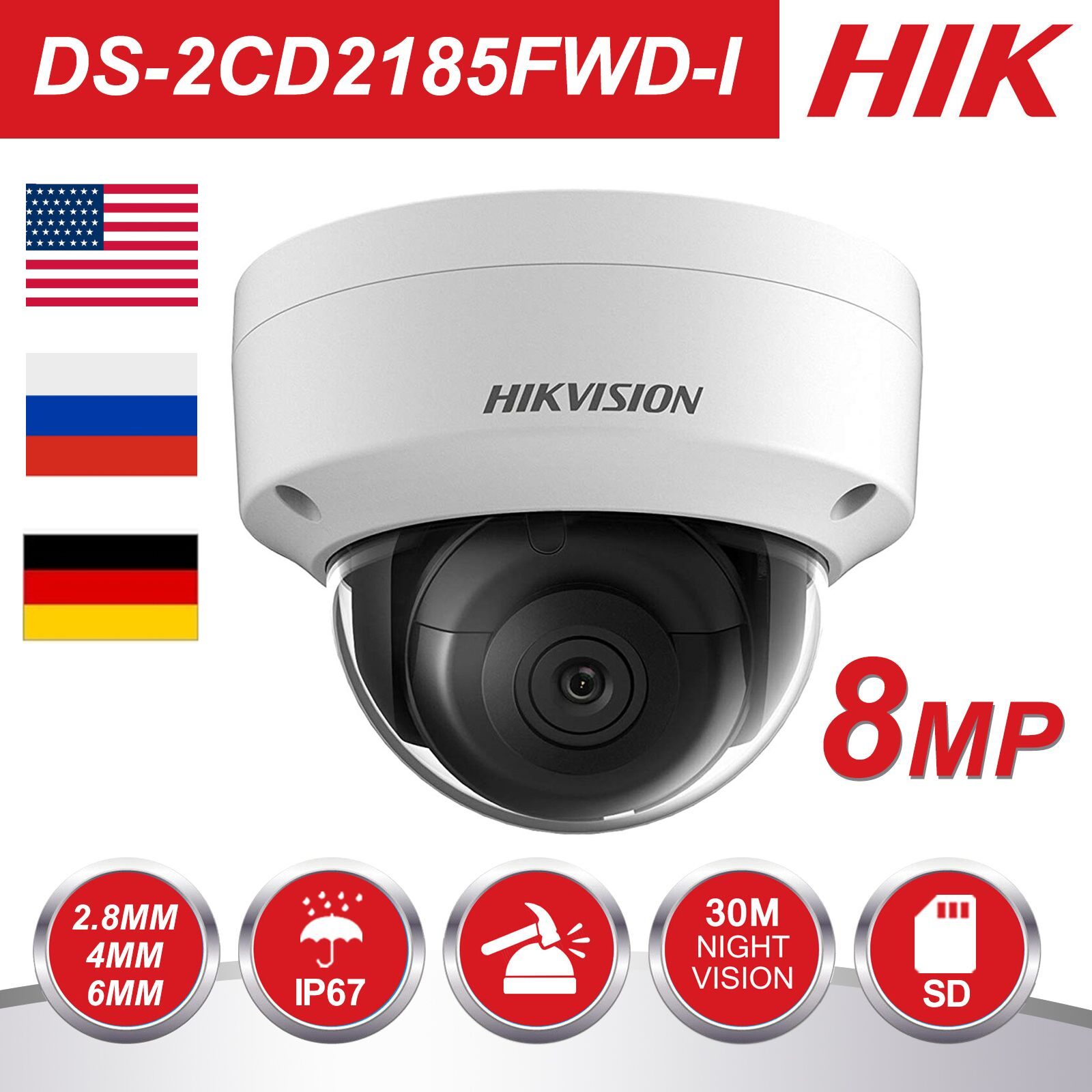 Hikvision 8MP POE IP Camera DS-2CD2185FWD-I Outdoor 4K Network Dome Security CCTV Camera SD Card 30m IR H.265+
