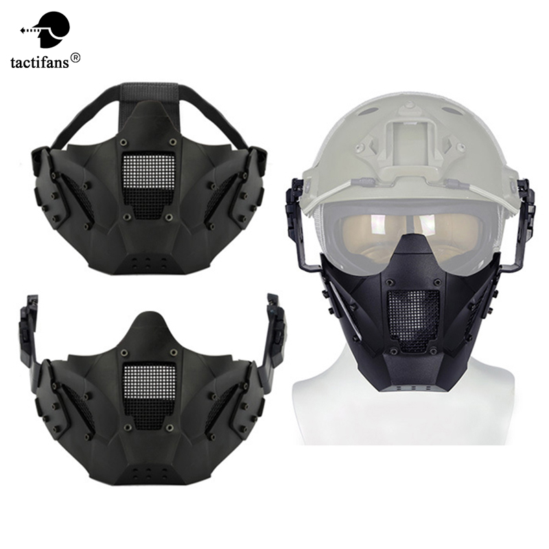 Tactical Airsoft Half Face Mask Military Army Metal Steel Paintball Mesh Adjustabl Protective CS Game Mask For Helmet Connector