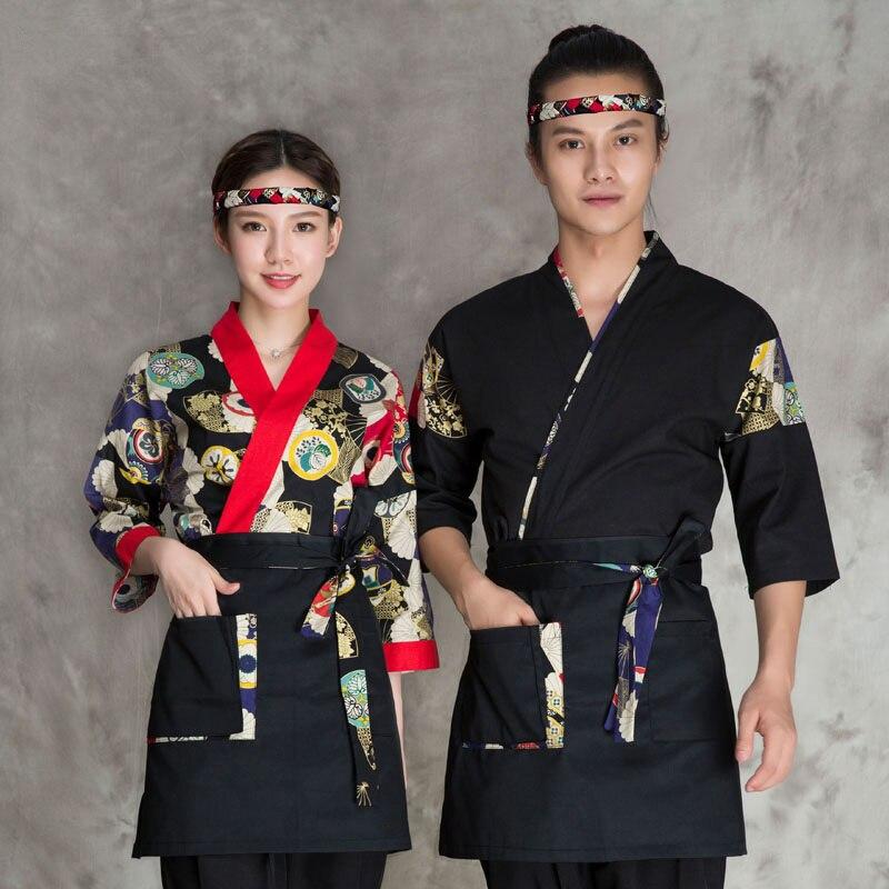 2019 été unisexe japonais service alimentaire vêtements sushi chef brodé tablier chef travail uniforme conçu japonais kimono tablier