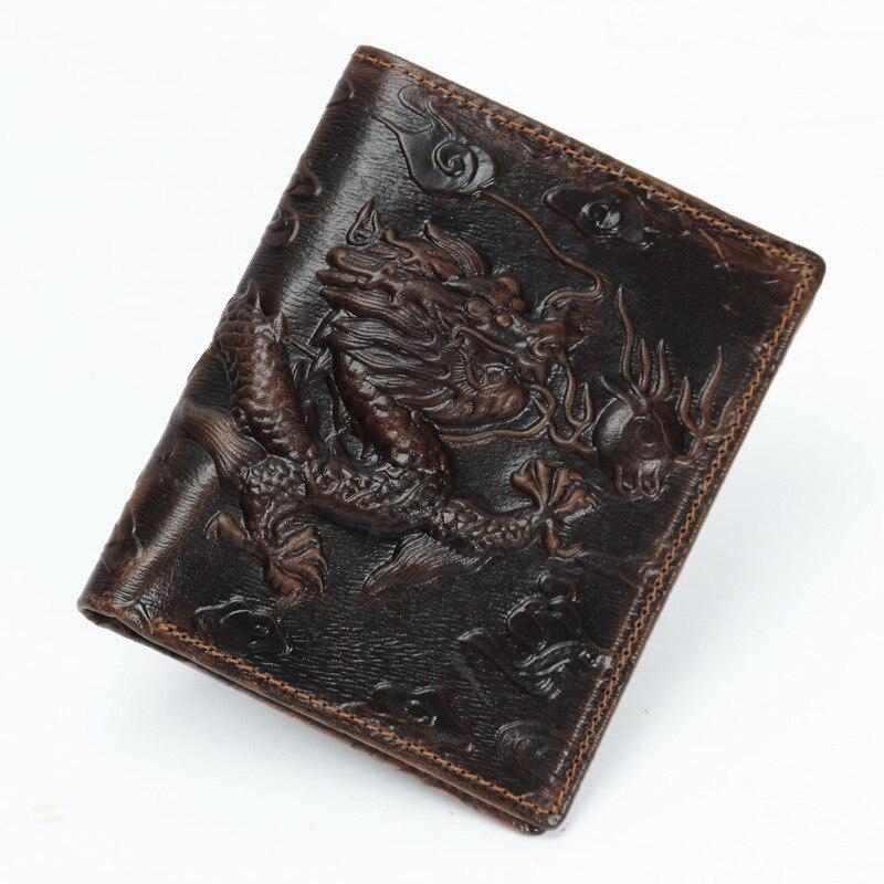 Hot Sale Luxury Cattle Male Quality Leather Fashion Design Dragon Emboss Simple Standard Brand Wallet Handy Purse Men
