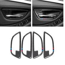 Auto Door Pull Decal for BMW F10 5 Series 2011 2017 Carbon Fiber Car Interior Door Handle Cover Door Bowl Stickers Decoration