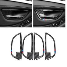 אוטומטי דלת למשוך מדבקות עבור BMW F10 5 סדרת 2011 2017 סיבי פחמן רכב פנים דלת כיסוי ידית דלת קערת מדבקות קישוט