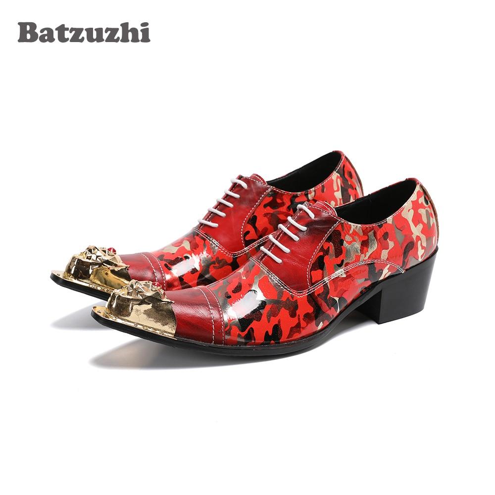 Batzuzhi Luxury Handmade Men's Shoes Golden Iron Toe Punk Leather Dress Shoes Lace-up Red Party, Wedding Shoes Male,Big US6-US12