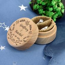 Soporte de caja de anillo de madera de boda rústico personalizado sus nombres y fecha de boda caja para guardar anillos
