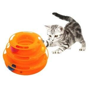 Image 1 - ثلاثة مستويات الحيوانات الأليفة القط لعبة برج المسارات القرص القط الذكاء تسلية ثلاثية الدفع القرص القط لعب الكرة التدريب لوحة تسلية