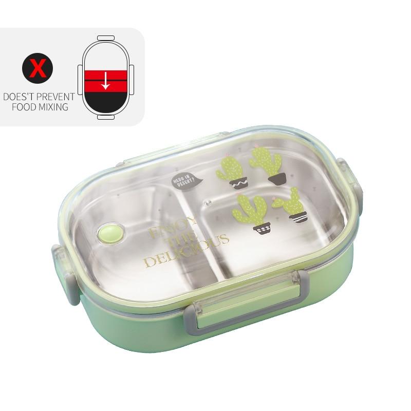 WORTHBUY японский Ланч-бокс для детей школы 304 из нержавеющей стали бенто Ланч-бокс герметичный контейнер для еды детская коробка для еды - Цвет: C Green