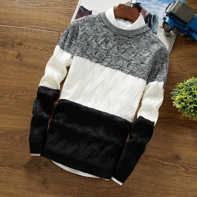 Winter Men O Neck Long Sleeve Color Block Patchwork Knitted Pullover Sweater Men's pattern patchwork round neck Sweater 1
