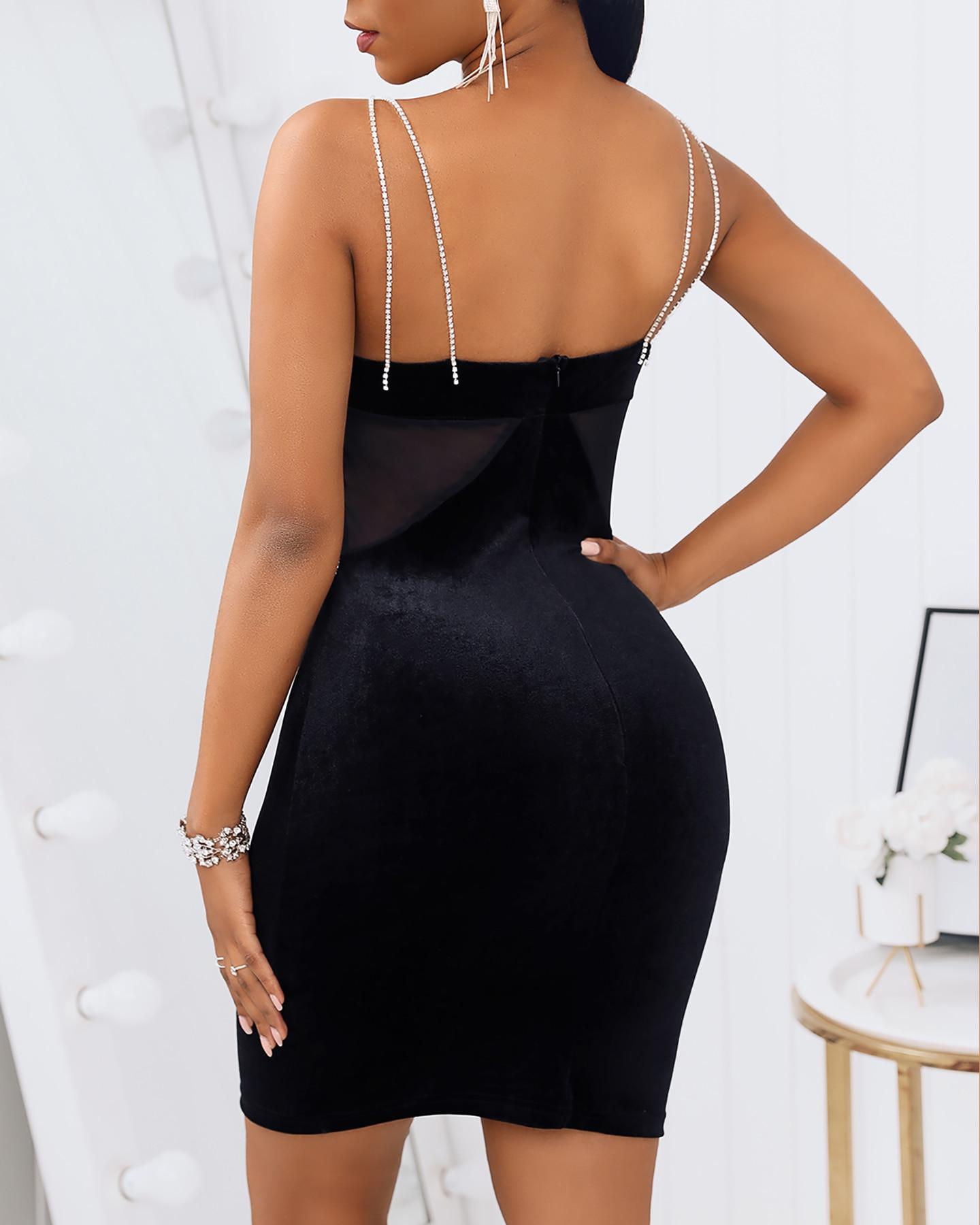 Mini robe de soirée moulante en maille transparente pour femmes, sans manches, Sexy, noire