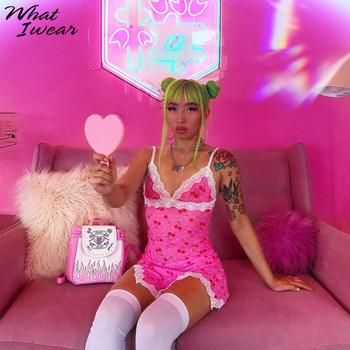 Women lace up cherry dot print sexy dress slip slit cute girl pink vestidos sleeveless v-neck bodycon femme short mini